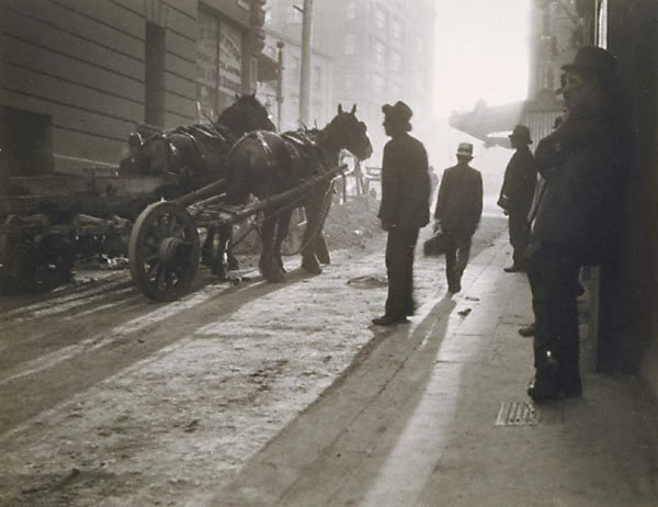 An image of Untitled (dray horses in lane)