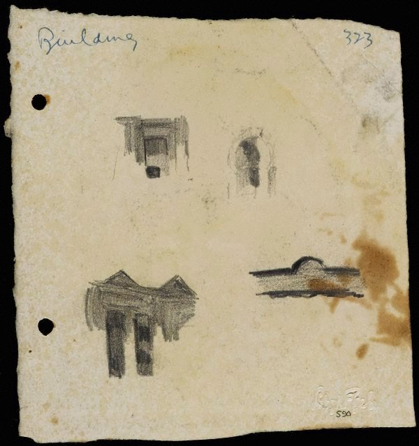 An image of recto: Building details verso: Scene with figures and Building details