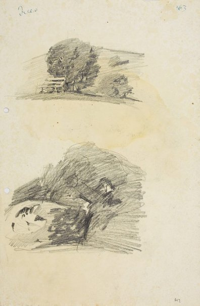An image of recto: Tree with park bench and Eroded rock verso: Eroded rock by Lloyd Rees