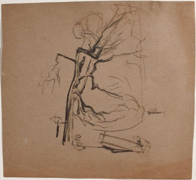 An image of (Landscape with boats and figure) (Sketches from Wangi and Lake Macquarie)