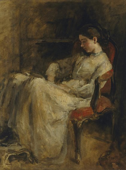 An image of Miss Montgomery reading