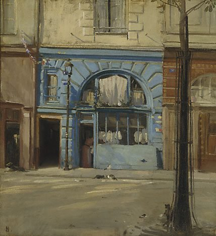 An image of The blue shop by Sir William Nicholson