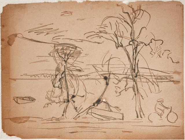 An image of (Landscape with cyclist) (Sketches from Wangi and Lake Macquarie)