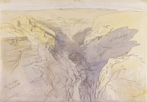An image of Deir mar sabbas by Edward Lear