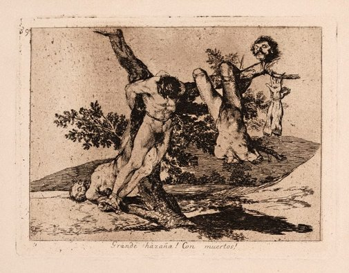An image of An heroic defeat! With dead men! by Francisco de Goya Y Lucientes
