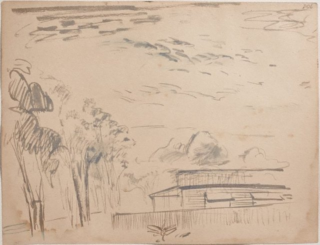 An image of (Trees and house) (Sketches from Wangi and Lake Macquarie)