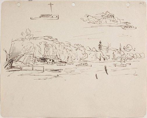 An image of (Shoreline with boathouse and boat studies) (Sketches from Wangi and Lake Macquarie) by William Dobell