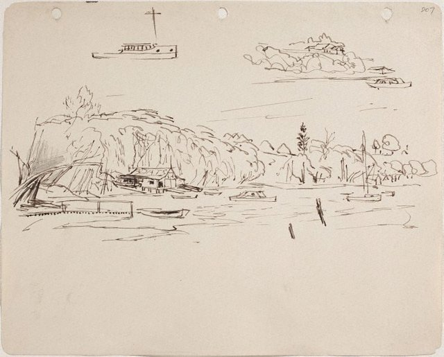 An image of (Shoreline with boathouse and boat studies) (Sketches from Wangi and Lake Macquarie)
