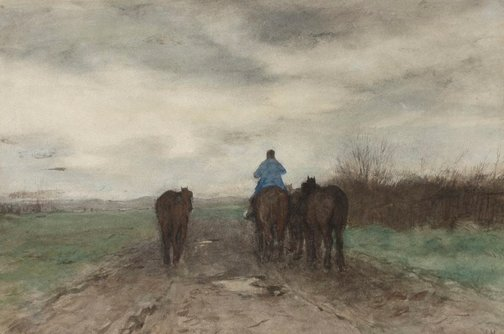 An image of Returning home, evening by Anton Mauve