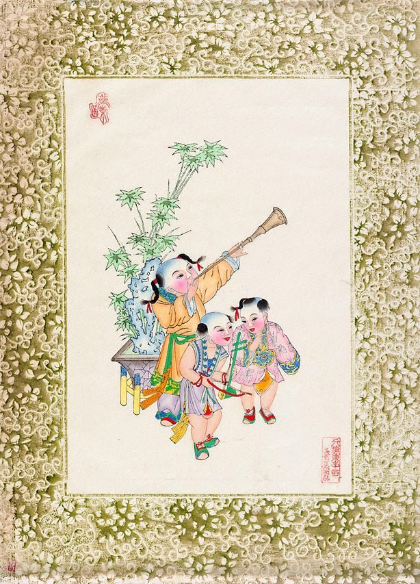 An image of New year print, Children at play (Three children with trumpet)