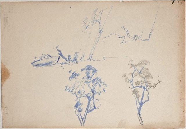 An image of (Boat and tree studies) (Sketches from Wangi and Lake Macquarie)