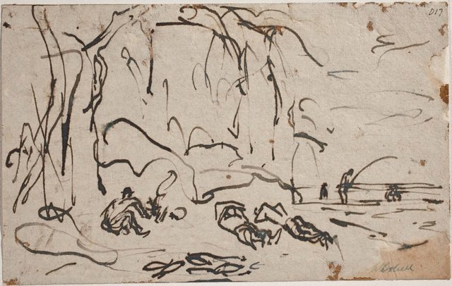 An image of (Figures lying under a tree) (Sketches from Wangi and Lake Macquarie)