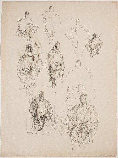 An image of (Figure studies; seated figures) (Sketches from Wangi and Lake Macquarie) by William Dobell