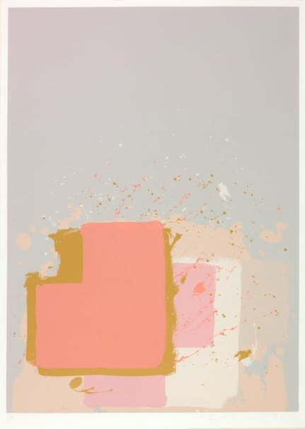 An image of Red block on grey by John Hoyland