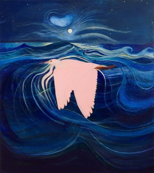 An image of The pink heron by Brett Whiteley