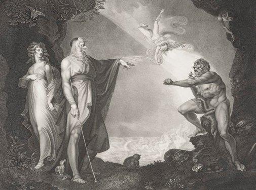 An image of Prospero, Miranda, Caliban and Ariel by Jean-Pierre Simon, after Henry Fuseli