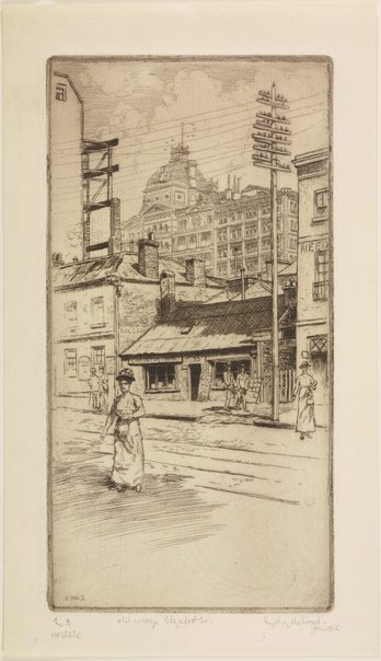 An image of Old cottage, Elizabeth Street by Sydney Ure Smith