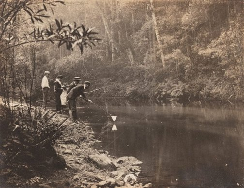 An image of Untitled (fishing at Hazelbrook) by John Northcote Deck