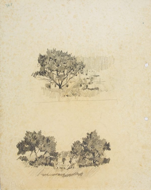 An image of recto: Tree and Head verso: Tree with houses and Trees with people on park bench