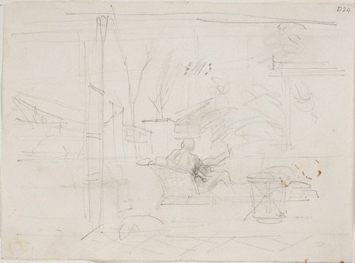 An image of (Interior scene with view) (Sketches from Wangi and Lake Macquarie) by William Dobell