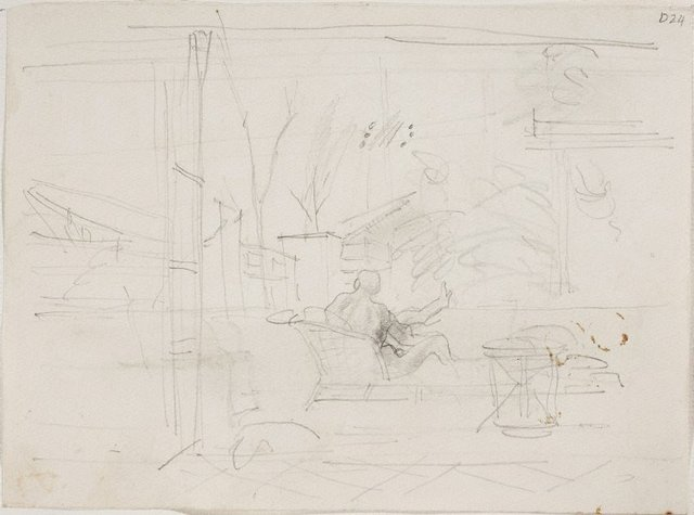 An image of (Interior scene with view) (Sketches from Wangi and Lake Macquarie)