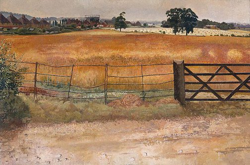 An image of Wheatfield at Starlings by Sir Stanley Spencer