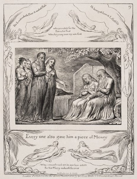 An image of Job accepting charity by William Blake