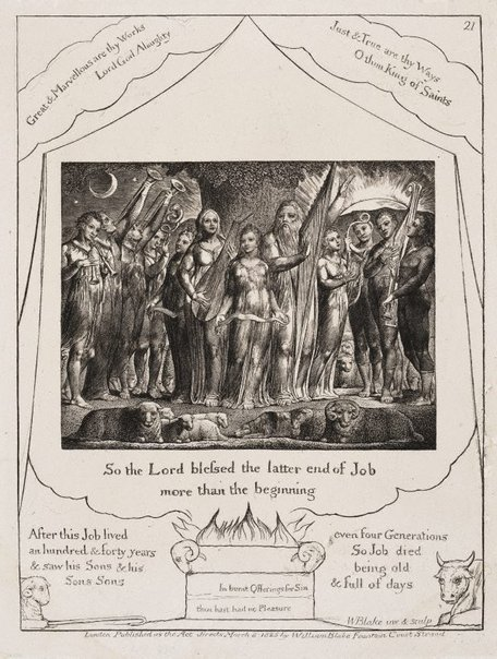 An image of Job and his wife restored to prosperity by William Blake