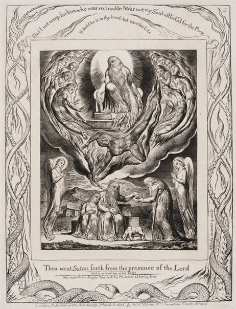 An image of Satan going forth from the presence of the Lord by William Blake