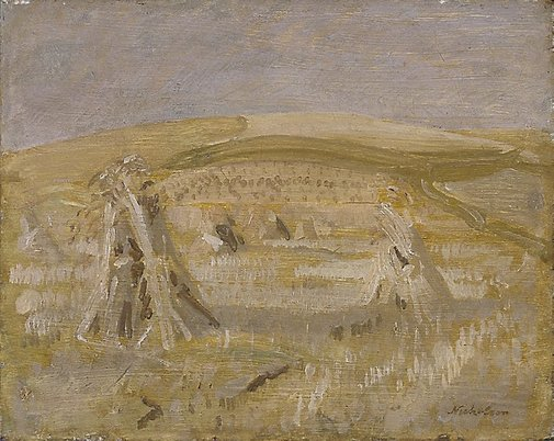 An image of Wheat stooks by Sir William Nicholson