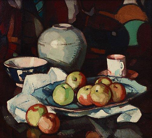 An image of Still life: apples and jar by Samuel John Peploe