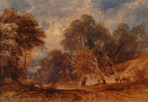 An image of A gypsy scene by Copley Fielding