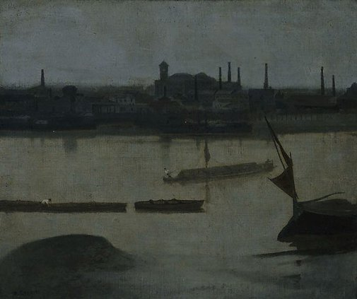 An image of A grey day, Battersea by Walter Greaves