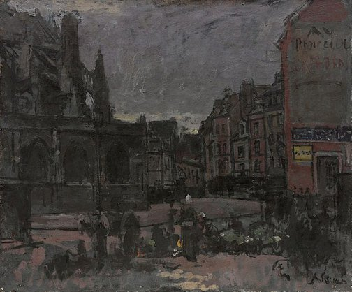 An image of The flower market, Dieppe by Walter Richard Sickert