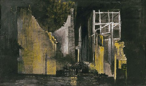 An image of Devastation: burnt out offices by Graham Sutherland