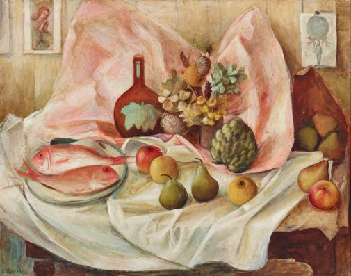 An image of Still life with pink fish by Margaret Olley