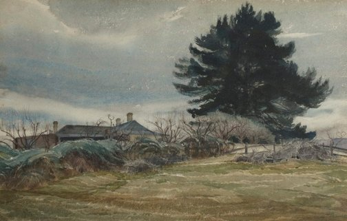 An image of Collitts Inn and the dark pines by Lorna Muir Nimmo