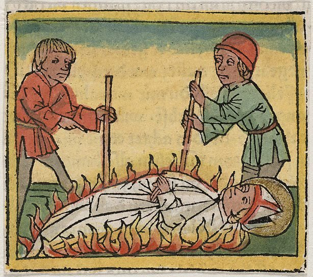 An image of The martyrdom of a bishop by burning