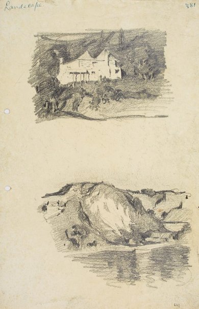 An image of Stone house and Landscape with water by Lloyd Rees