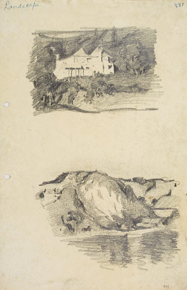 An image of Stone house and Landscape with water