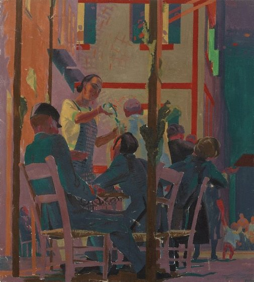 An image of recto: (Cafe scene) verso: The Miraculous Draught of Fishes by Frank Medworth