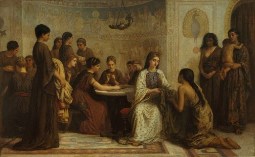An image of A Dorcas meeting in the 6th century by Edwin Long