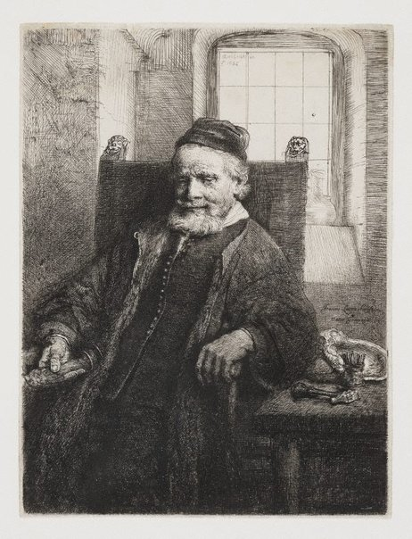An image of Portrait of Jan Lutma, goldsmith by Rembrandt Harmensz. van Rijn