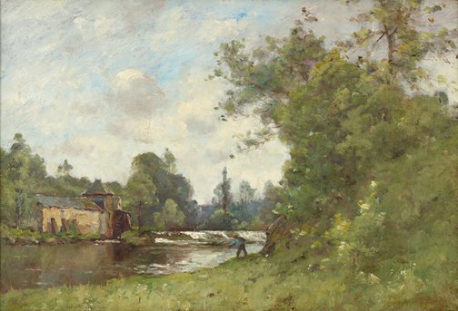 An image of Landscape with fisherman by Unknown, after Paul-Desire Trouillebert