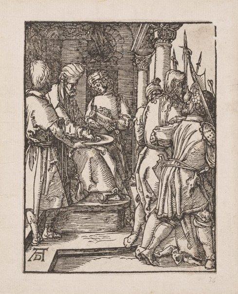 An image of Pilate washing his hands by Mommard, after Albrecht Dürer