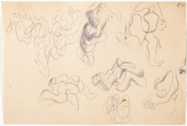 An image of (Abstract figure studies) (Landscapes and natives from New Guinea)