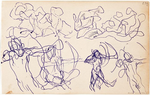 An image of (Abstract figures; studies of an archer) (Landscapes and natives from New Guinea)
