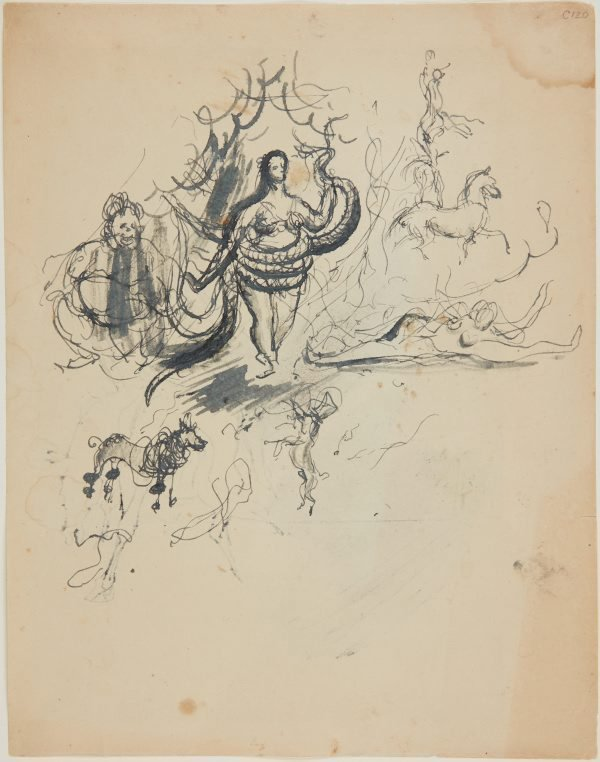 An image of recto: Circus figures and a lady with a python verso: (figure on horseback)