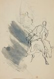 Alternate image of recto: Circus figures and a lady with a python verso: (figure on horseback) by William Dobell