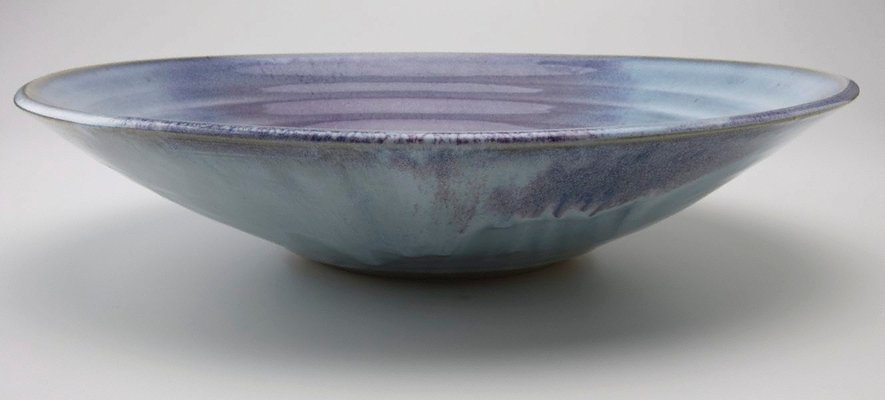Alternate image of Platter with blue and mauve glaze by Shiga Shigeo
